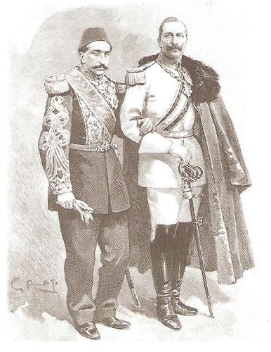 Padişah II. Abdülhamit İmparator II. Wilhelm İmparatoriçe Victoria. Abdulhamit Wilhelm Tn