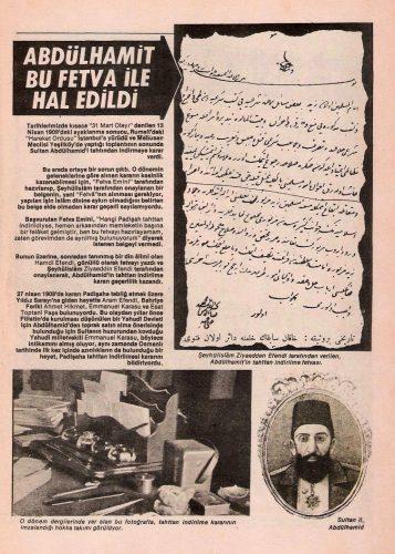 Sultan 2. Abdülhamid Han 31 Mart Olayı ve Sarayda Hal Kararı Fetvası